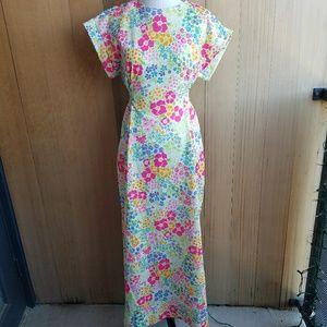 Vintage Handmade 60's Bright Floral Maxi Dress
